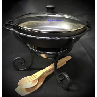 Кованый садж с чугунной сковородой 28 см+набор лопаток в подарок