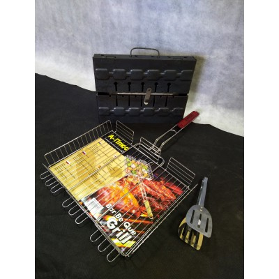 Набор мангал 6+ решетка большая 40*35+ щипцы в подарок.