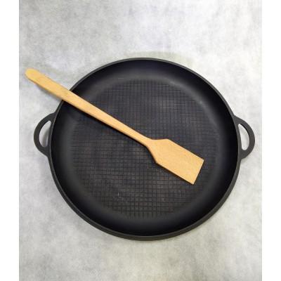 Чугунная сковорода для печи  Ф 460 мм + деревянная ложка