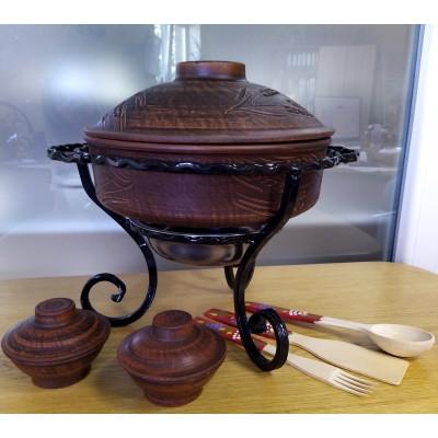 Кованый садж со сковородой из красной глины 3 л с соусницами из красной глины+ набор приборов