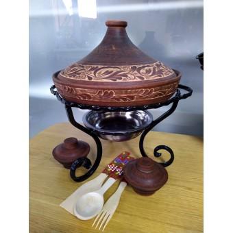 Кованый Садж - Тажин 2л из красной глины с соусницами+ деревянный набор приборов
