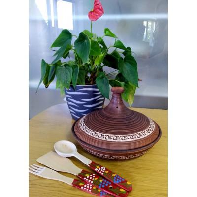 Кастрюля -Тажин из красной глины + набор деревянных приборов !