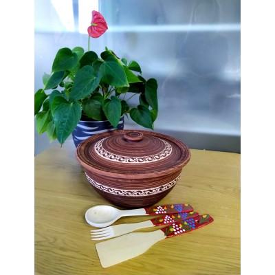 Кастрюля из красной глины 3л + набор древянных приборов