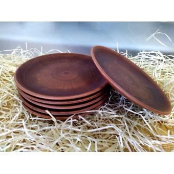 Тарелка из красной глины ф 21,5 см