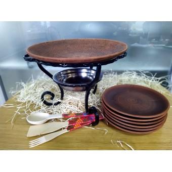 Кованый Садж - Блюдо из красной глины, 6 тарелок+ Набор деревянных приборов!
