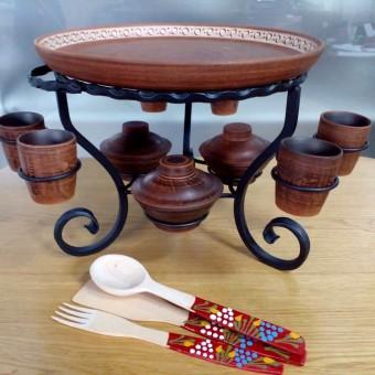Кованый Садж  - Блюдо ф 340 с рмками 6шт, соусницы 3шт + набор деревянных ложек!!!