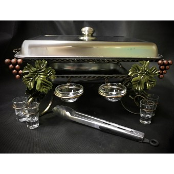 """Садж для шашлыка """"Виноград"""" с рюмками и соусницами+щипчики в подарок"""