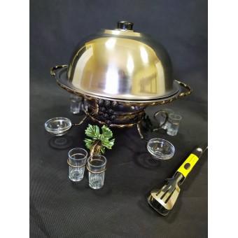 """Садж для шашлыка (360 ) """"Виноград"""" с соусницами и рюмками (стекло)+щипчики в подарок"""