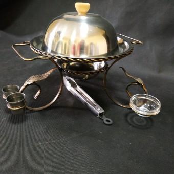 Садж (280 мм) для шашлыка малый с рюмками и соусницами +щипчики в подарок